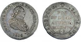 872  -  FERNANDO VII. Medalla de proclamación con valor 1 real. 1808. Santa Ana la Grande. VI-559. Pátina gris. MBC+. Muy rara.