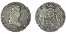 874  -  FERNANDO VII. 8 reales. 1812. Cataluña. SF. VI-960. Encapsulada. NGC-VF-30. MBC. Rara.