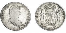 886  -  FERNANDO VII. 8 reales. 1818. México JJ. VI-1098. Rayitas de ajuste en anv. y rayas en rev. MBC-/MBC.