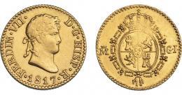 891  -  FERNANDO VII. 1/2 escudo. 1817. Madrid. GJ. VI-1222. Vano en rev. MBC+/EBC-.