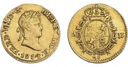 892  -  FERNANDO VII. 1/2 escudo. 1814. México. JJ. VI-1223. Vano en rev. MBC+. Muy escasa.