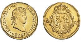 894  -  FERNANDO VII. 1/2 escudo. 1816. México. JJ. VI-1225. Acuñación floja en rev. EBC/EBC-. Muy escasa.