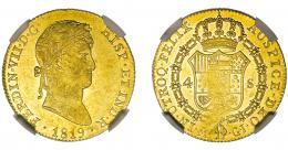 896  -  FERNANDO VII. 4 escudos. Madrid. GJ. VI-1424. Leve acuñación floja en rev. Encapsulada NGC-AU-58. EBC+. Muy escasa.