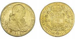 900  -  FERNANDO VII. 8 escudos. 1819. Nuevo Reino. JF. VI-1508. Hojas en anv. MBC-.