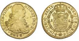 904  -  FERNANDO VII. 8 escudos. 1813. Santiago. FJ. VI-1539. Hojitas y rayas de ajuste. MBC/EBC.
