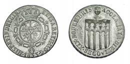 905  -  ISABEL II. Medalla. Proclamación. 1833. Segovia. 5 arcos. H-31 vte. metal. 24,5 mm. Metal blanqueado. MBC.