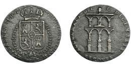 907  -  ISABEL II. Medalla. Mayoría de edad. 1843. Segovia. AE 2,28 g. ¿Falsa de época? Muy interesante. MBC-.