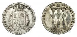 908  -  ISABEL II. Medalla. Mayoría de edad. 1843. Segovia. Metal plateado. 4,65 g. H-15 vte. metal. EBC/EBC-.