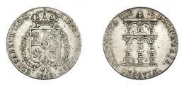 909  -  ISABEL II. Medalla. Mayoría de edad. 1843. Segovia. H-15. AR 5,02 g. Golpecito en rev. MBC+/MBC.
