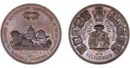 912  -  ISABEL II. Medalla. 1859. Exposición Castellana. Diputación provincial de Valladolid. Grabador L. M. (Marchionni). AE 46,5 mm. MPN-702. Golpecito en canto. SC.