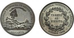913  -  ISABEL II. Medalla. 1860. Exposición agrícola, industrial y artística Alicante. Grabador L.M. (Marchionni). AE 40 mm. SC.