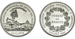 914  -  ISABEL II. Medalla. 1860. Exposición Agrícola Industrial y Artística Alicante. Grabador L.M. (Marchionni). Metal blanco 40 mm. Pequeñas marcas en gráfila. SC.