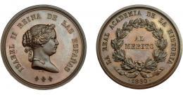 915  -  ISABEL II. Medalla. 1860. Real Academia de la Historia. Al mérito. Grabador L. M. (Marchionni). AE 45 mm. EBC+/SC.