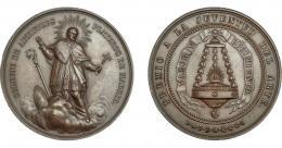 916  -  ISABEL II. Medalla. S/F. Colegio de artífices plateros de Madrid S. Eloy. AE 48 mm. EBC+.