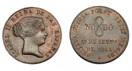 918  -  ISABEL II. Medalla. 1862. Visita a Sevilla. AE 23 mm. MPN-733. R.B.O. EBC.