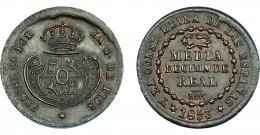 920  -  ISABEL II. 1/2 décima de real. 1853. Segovia. VI-104. EBC-.