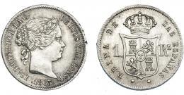 922  -  ISABEL II. Real. 1863. Sevilla. VI-291. Golpecito en gráfila. EBC-.