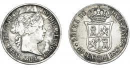 923  -  ISABEL II. 40 céntimos de escudo. 1864. Madrid. VI-428. Oxidaciones limpiadas. MBC-/MBC.