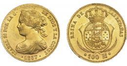 925  -  ISABEL II. 100 reales. 1857. Barcelona. VI-633.R.B.O. EBC.