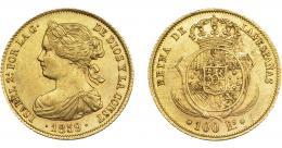 926  -  ISABEL II. 100 reales. 1859. Barcelona. VI-635. EBC/EBC-.