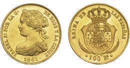 927  -  ISABEL II. 100 reales. 1861. Madrid. VI-648. R.B.O. EBC.
