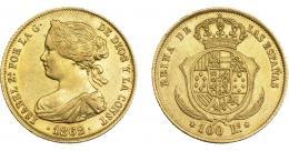 928  -  ISABEL II. 100 reales. 1862. Madrid. VI-649. EBC-/EBC.