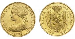 929  -  ISABEL II. 100 reales. 1863. Madrid. VI-650. EBC.