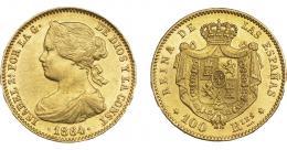 930  -  ISABEL II. 100 reales. 1864. Madrid. VI-651. R.B.O. EBC.