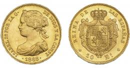 934  -  ISABEL II. 10 escudos. 1868*18-68. Madrid. VI-668. B.O. SC.