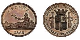 935  -  GOBIERNO PROVISIONAL. Medalla. 1868. Grabador L. M. Marchionni. AE 37 mm. MPN-768. SC.