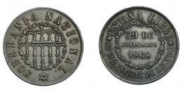 936  -  GOBIERNO PROVISIONAL Y I REPÚBLICA. 25 milésimas de escudo. 1868. VII-7. MBC+.