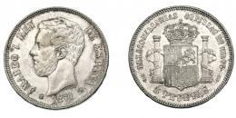 937  -  AMADEO I. 5 pesetas. 1871*-18-75. Madrid. DEM. Latón plateado. Barrera-1167. EBC.