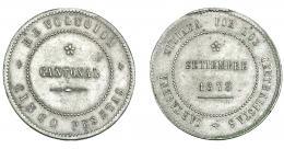 938  -  REVOLUCIÓN CANTONAL. 5 pesetas. 1873. Cartagena. No coincidente con eje horizontal. VII-30.1. MBC+.