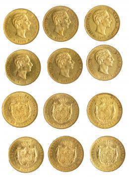 939  -  ALFONSO XII. Colección de 25 pesetas: 1876, 1877, 1878 DEM, 1878 EMM, 1879 y 1880. Total 6 piezas. EBC/EBC+.