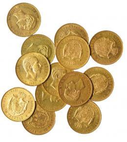 940  -  ALFONSO XII. Lote 13 monedas de 25 pesetas: 1876 (2), 1877 (7), 1878 DEM (1), 1880 (2), 1881 (1). Calidad media EBC.