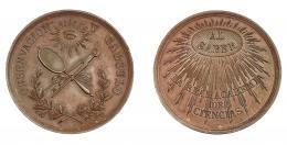 941  -  ALFONSO XII. Medalla. Real Academia de Ciencias. Al saber. Observación y Cálculo.  AE 41,7 mm. SC.