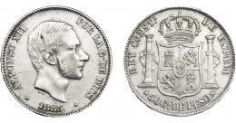944  -  ALFONSO XII. 50 centavos de peso. 1885. Manila. VII-80. MBC+.