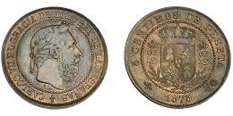 945  -  CARLOS VII. 5 céntimos. 1875. Bruselas. No coincidente sobre eje horizontal. VII-116.1. R.B.O. Acuñación floja. EBC-.