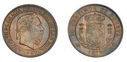 946  -  CARLOS VII. 10 céntimos. 1875. Bruselas. No coincidente sobre eje horizontal. VII-117.1. R.B.O. Acuñación floja. MBC+.