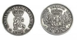 947  -  CARLOS VII. 50 céntimos. 1876. Bruselas. VII-120. EBC. Muy escasa.