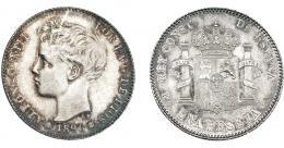 951  -  ALFONSO XIII. Peseta. 1896*18-96. Madrid. PGV. VI-154. Abrillantada. EBC-.