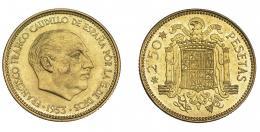 952  -  FRANCISCO FRANCO.  2,5 pesetas. 1953* 19-69. Madrid. VII-345. Rozadura en anv. en la mejilla. EBC+.