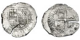955  -  COLECCIÓN DE RESELLOS. FELIPE IV. 7 1/2 reales. Resello F coronada sobre 8 reales 164(9) Potosí. Marca punto dentro de círculo. KM-C.19.3. Cospel abierto. MBC.