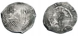 956  -  COLECCIÓN DE RESELLOS. FELIPE IV. 7 1/2 reales. Resello O coronada sobre 8 reales 1650 Potosí, marcas punto dentro de círculo. KM-C19.4. MBC-.