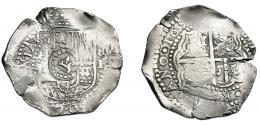 957  -  COLECCIÓN DE RESELLOS. FELIPE IV. 7 1/2 reales. Resello corona dentro de círculo con gráfila de puntos sobre 8 reales 165? Potosí E. KM-C.19.1. Vanos. MBC+.