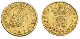 958  -  COLECCIÓN DE RESELLOS. FERNANDO VI. 1/2 escudo. 1747. Sevilla. PJ. VI-421. Resello flor de 4 pétalos. MBC/MBC+.