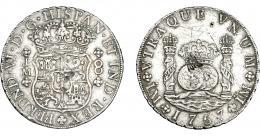 959  -  COLECCIÓN DE RESELLOS. FERNANDO VI. 8 reales 1757. Lima. JM. Resello oriental. VI-351. Grafito y finas rayas. MBC.