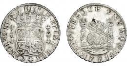 960  -  COLECCIÓN DE RESELLOS. CARLOS III. 8 reales 1771. Lima. JM. Resello oriental. VI-883. Rayas de ajuste. MBC.