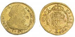 961  -  COLECCIÓN DE RESELLOS. CARLOS III. Escudo. 1784. Popayán. SF. VI-1207. Resello flor de 4 pétalos. MBC.