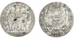 962  -  COLECCIÓN DE RESELLOS. FERNANDO VII. 8 reales. Resello 1824 coronado sobre 8 reales 1823 Lima JP. Resellos chinos en anv. VI-1058. KM-130 (Perú). MBC.